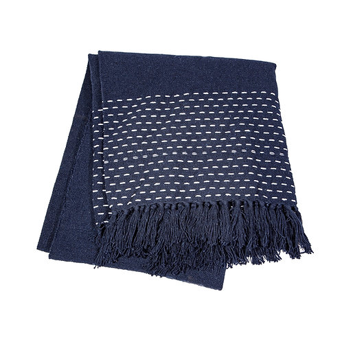Stitched Blue Blanket Throw