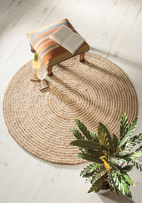 Extra Large 120cm Round Natural Braided Rug