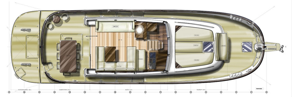 Deck layout with lower galley