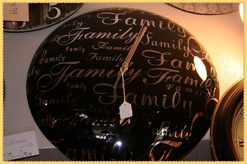 Black Glass Typography Family Wall Clock