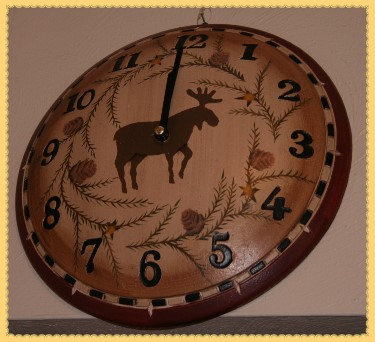 Moose & Pine Wooden Wall Clock