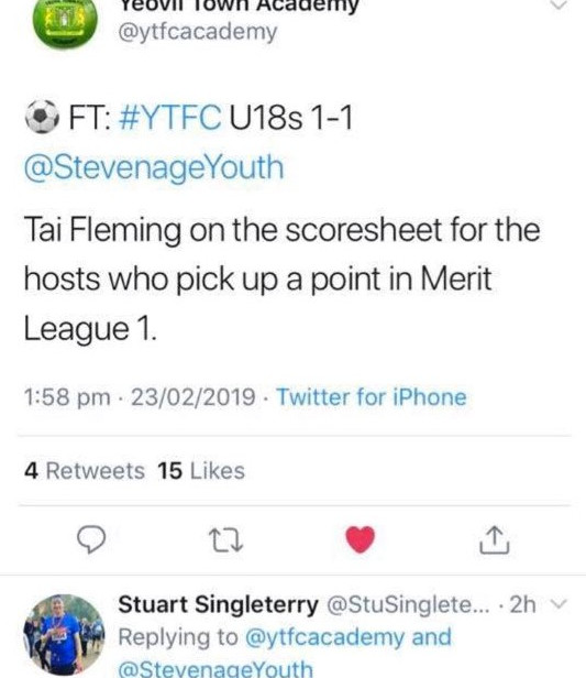 Twiter Extract for Yeovil Town Academy