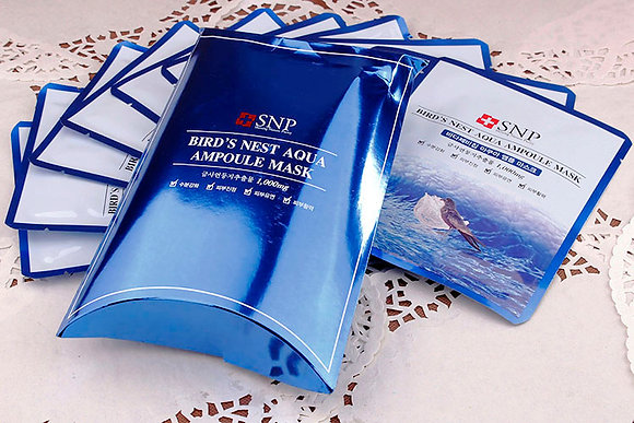 SNP Bird's Nest Aqua Ampoule Mask (BOX) 藍色燕窩面膜