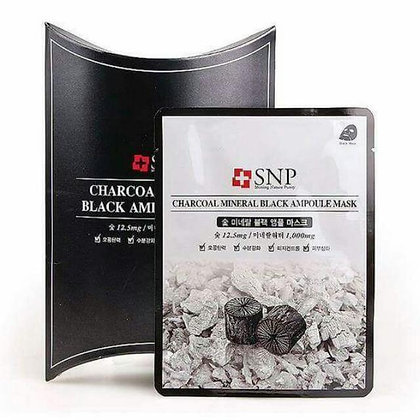 SNP Charcoal mineral Black Ampule Mask 黑炭