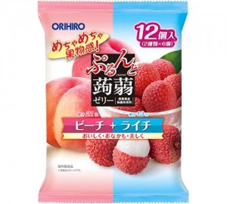 Orihiro 雙色果凍 #白桃+荔枝味