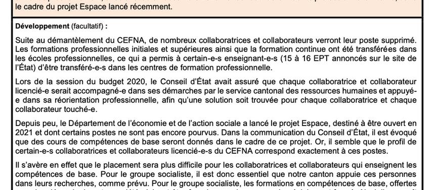 Mobilité interne pour les professionnelles et professionnels du CEFNA
