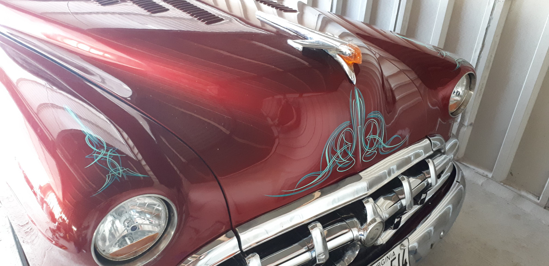 Pinstriped vintage car