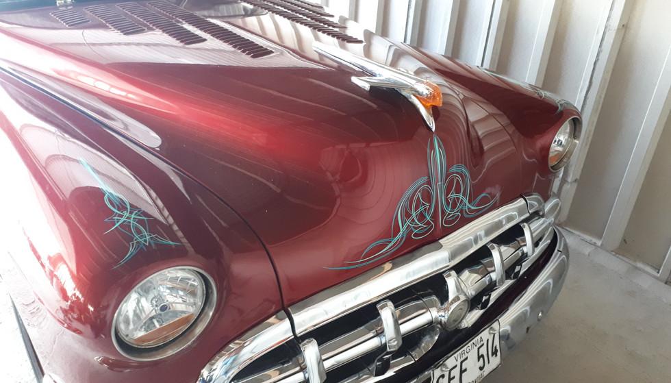 Pinstriped vintage car