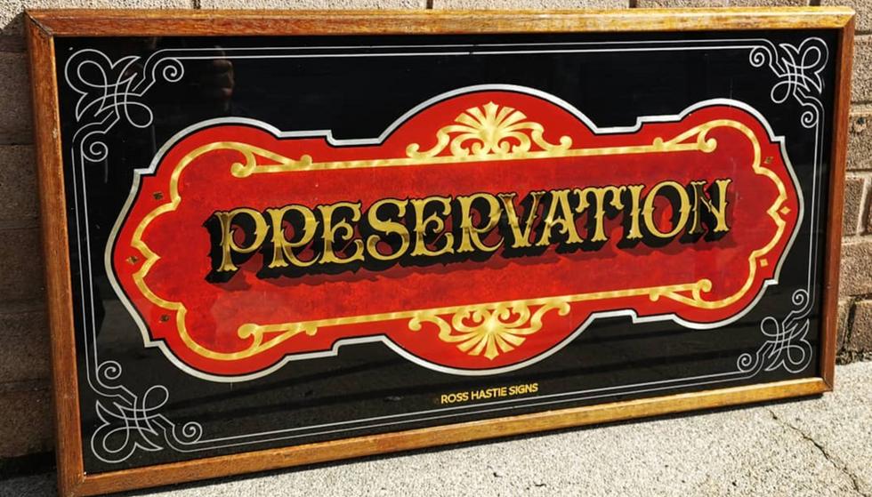 Gilded Glass Sign set into a Harwood Frame