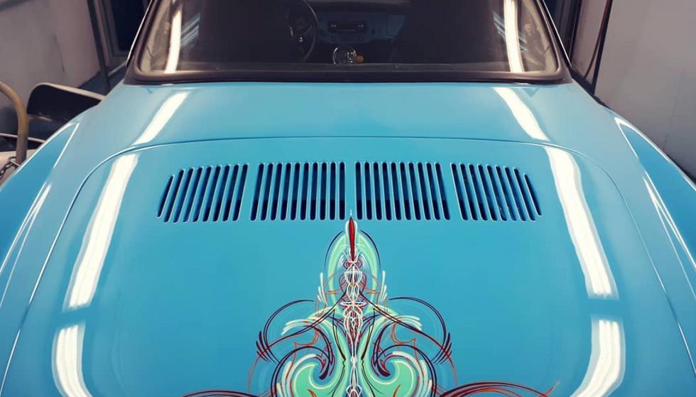 Vintage car pinstriped