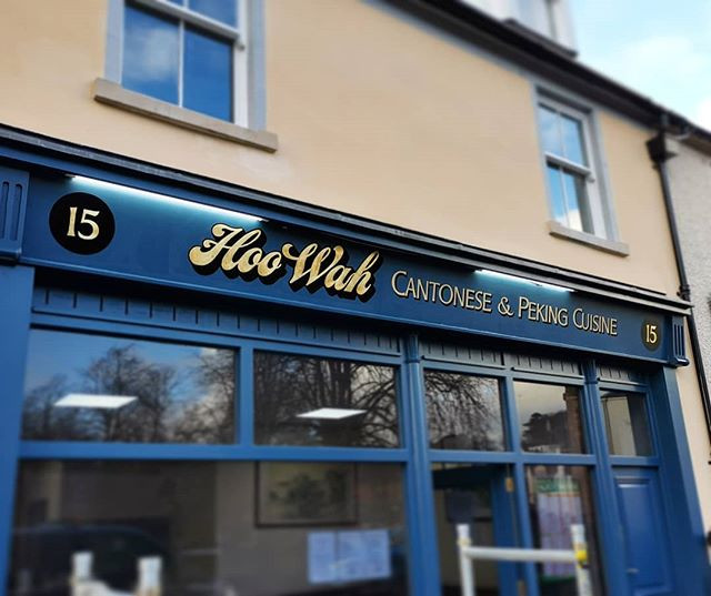 Gold Leaf fascia sign painted in Stratha