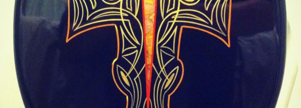 Pinstriped cross