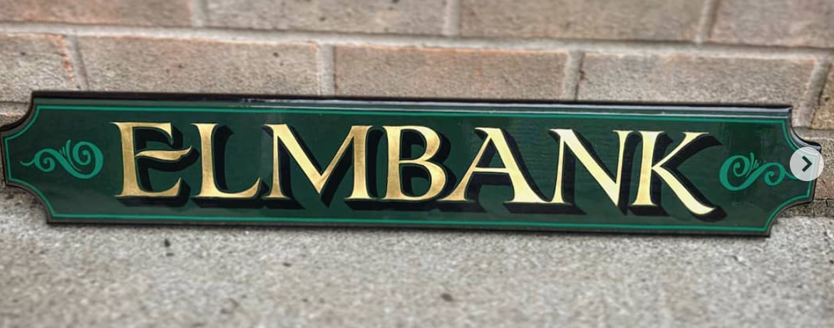 Handmade sign, finished with 23.5ct gold