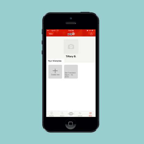 A conceptual design of a itinerary feature for Yelp
