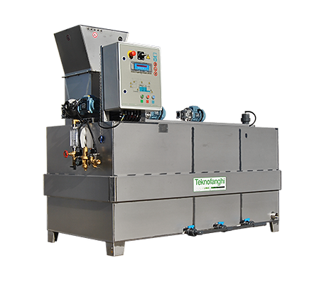 Automatic and continuous polymer preparation unit with powder or emulsion polyelectrolyte base.