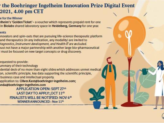 Apply Today to Win a Golden Ticket to BioLabs Heidelberg , Sponsored by Boehringer Ingelheim