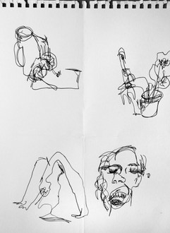 General warm-up, blind contour drawing 2