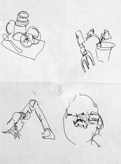 General warm up, blind contour drawing