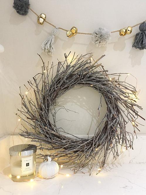 Distressed Whitewashed Birch Twig Wreath