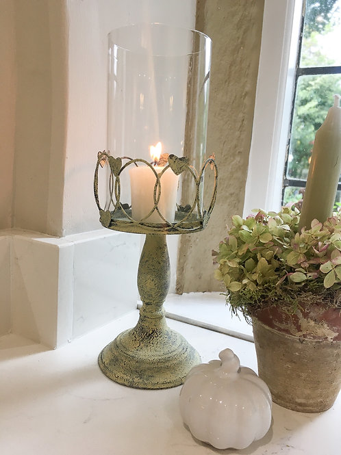 Metal Candle Holder with Hearts