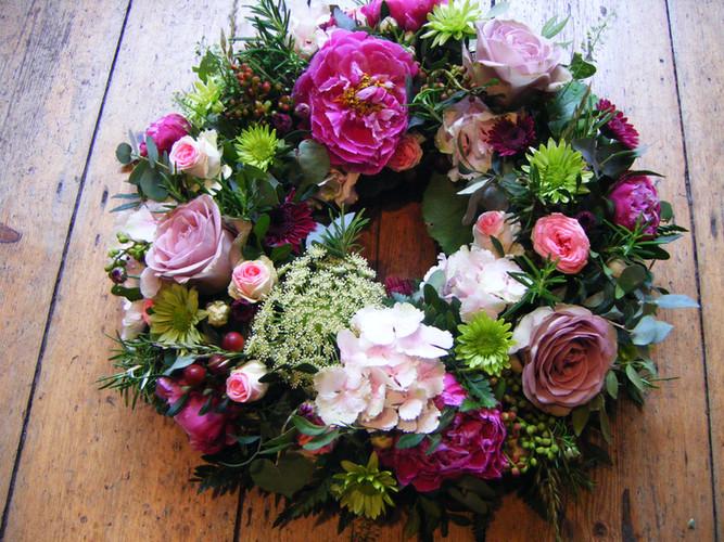 Pink summer wreath