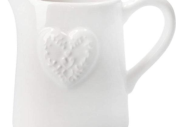 Gisela Graham White Ceramic Heart Embossed Jug, Small