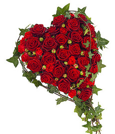 red rose heart tribute