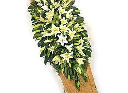 casket spray of lily white