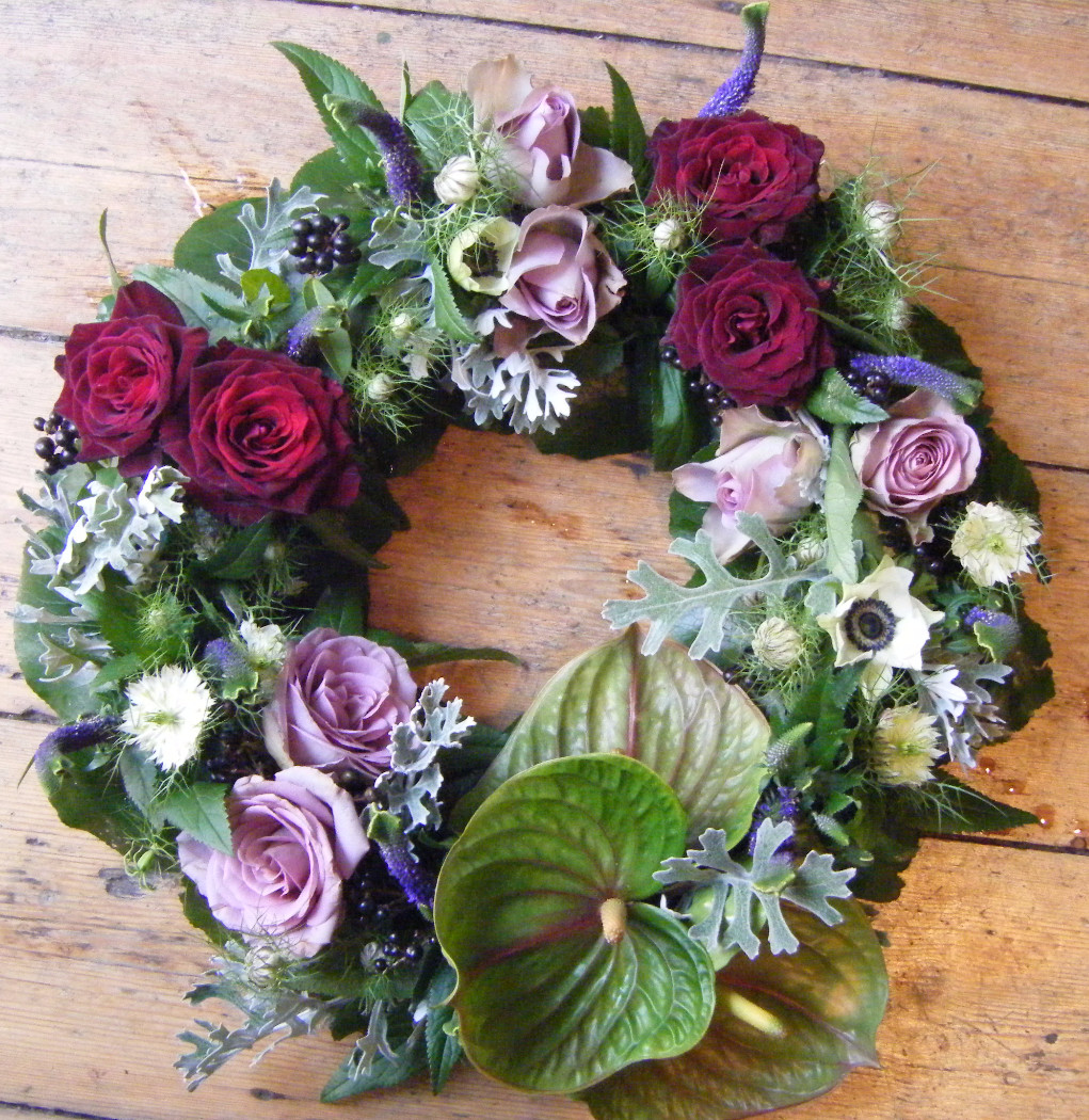 Lilac and burgundy wreath