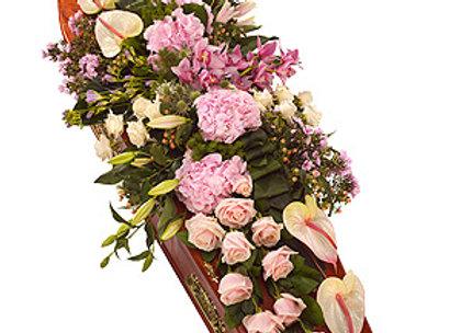 birds eye view of pink floral casket spray