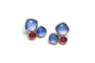 boucles d'oreilles jade violet