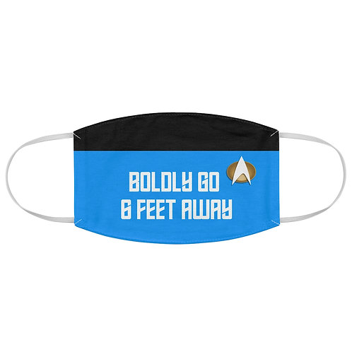 "Star Trek ""Boldly Go 6 Feet Away"" Blue Fabric Face Mask 2"