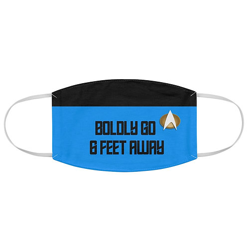 "Star Trek ""Boldly Go 6 Feet Away"" Blue Fabric Face Mask"