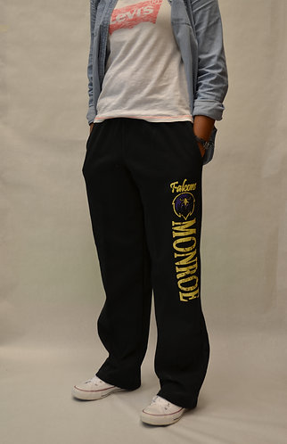 "Sweatpants Black ""MONROE"" - Open Bottom - Black"