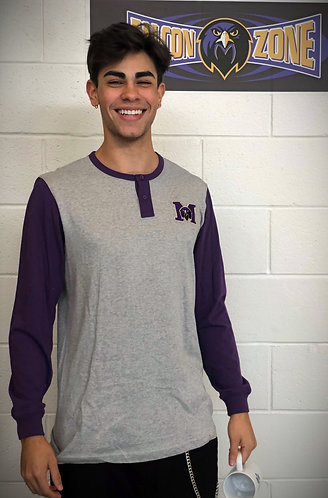 "Purple/Gray Long Sleeve Button Shirt - ""M"" Logo"