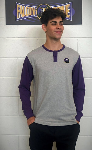 Purple/Gray Long Sleeve Button Shirt - Falcon Head Logo