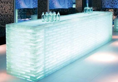 Glass Brick LED lit bar