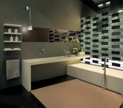 Glass Brick Wall Screen in Bathroom