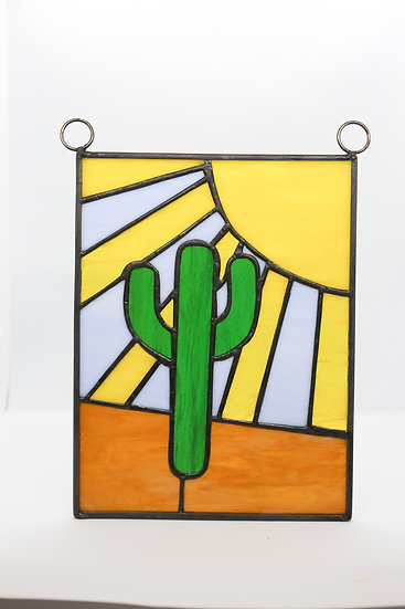 """""""King of the Hill"""" Cactus Stain Glass"""