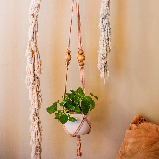 Avocado Dyed Handwoven Plant Hanger