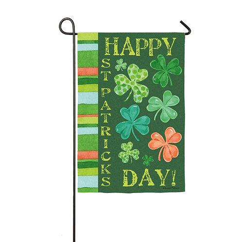 "Happy St Pat's Shamrock 14S3268 Evergreen Suede Garden Flag 12.5"" x 18"""