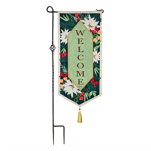 """Floral Welcome Everlasting Impressions Textile Evergreen Linen Flag 12.5"""" x 28"""""""