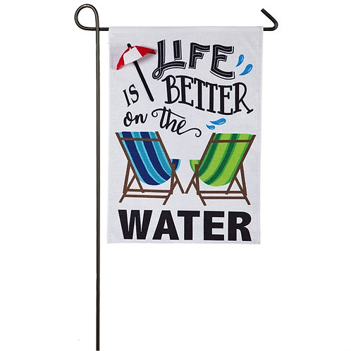 "Life is Better on the Water 14B8510 Evergreen Burlap Garden Flag 12.5"" x 18"""