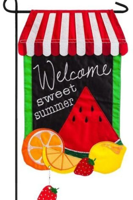 "Summer Fruit 168542BL Evergreen Applique Garden Flag 12.5"" x 18"""