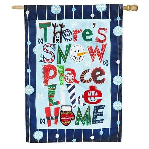 """Snow Place Like Home 13L4548 Evergreen Linen House Flag 28""""W x 44""""H"""
