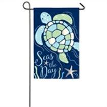 """Seas the Day Sea Turtle 168818BL Evergreen Applique Garden Flag 12.5"""" x 18"""""""