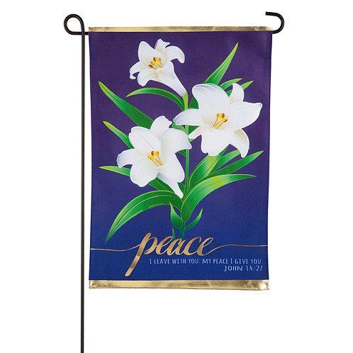 """Easter Lilies 14L9519 Evergreen Linen Garden Flag 12.5"""" x 18"""""""