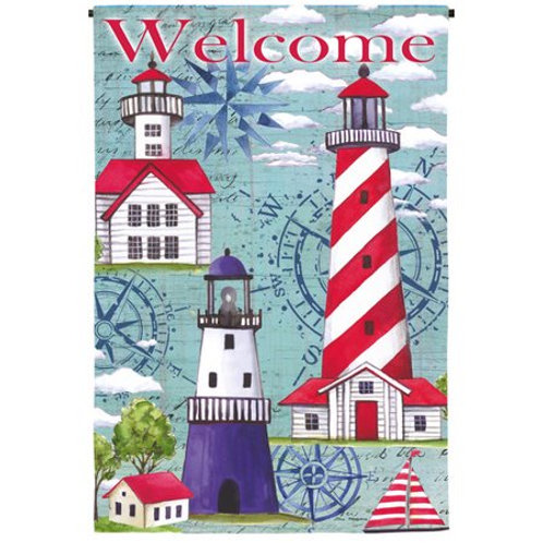 "**OPEN FLAG** Coastal Lighthouses 13S3704 Evergreen Suede  HOUSE Flag 28"" x 44"""
