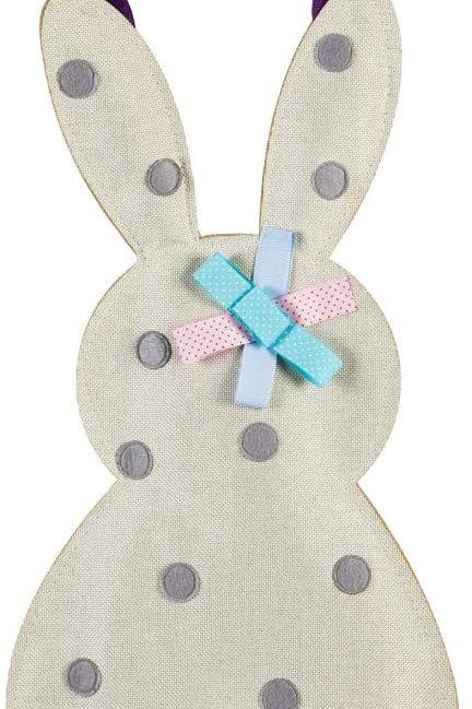 Polka Dot Bunny Door Decor 2DHB1404 Evergreen Door Hanger