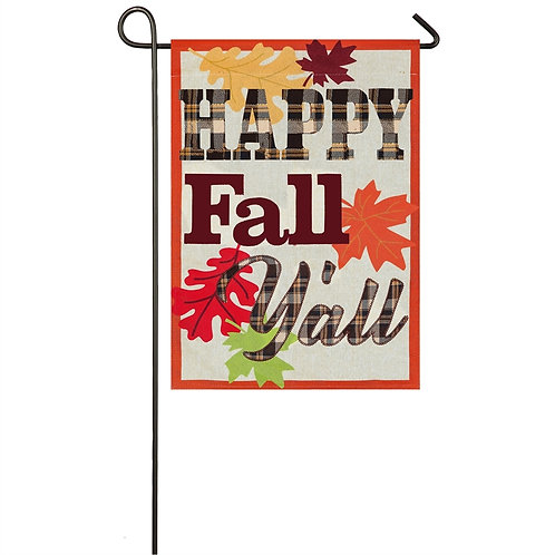 "**OPEN FLAG NO PACKAGING** Happy Fall Yall Evergreen Linen Garden Flag 12.5""x18"""